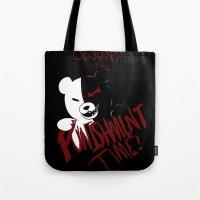 dangan ronpa Tote Bags featuring Dangan Ronpa: Monokuma's Punishment by Michelle Rakar