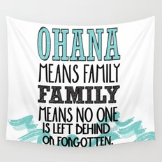 ohana means family.. lilo and stitch disney...  Wall Tapestry