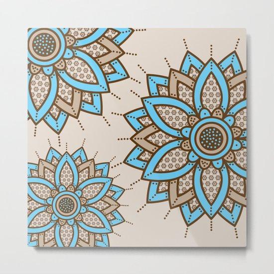 Tri Floral Parade Brown Blue Metal Print