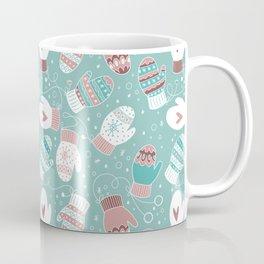 Winter Christmas Mittens Pattern, Mint Coffee Mug