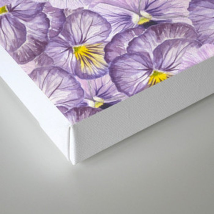 Watercolor floral pattern with violet pansies Canvas Print
