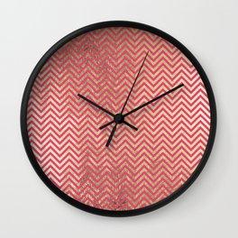 Magenta faux gold elegant chevron geometrical pattern Wall Clock