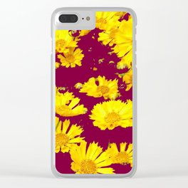 BURGUNDY-YELLOW  FLORAL COREOPSIS  PATTERN ART Clear iPhone Case