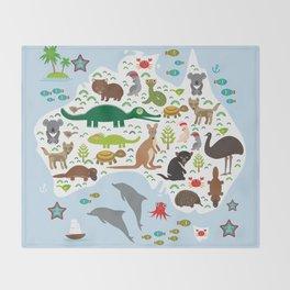 map of Australia. Echidna Platypus Emu Tasmanian devil Cockatoo Wombat crocodile kangaroo dingo Throw Blanket