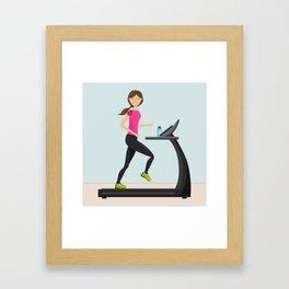 Girl Running On A Treadmill Cartoon Illustration Framed Art Print