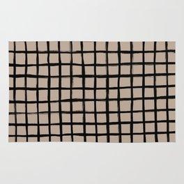 Strokes Grid - Black on Nude Rug