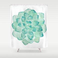Watercolor Succulent print in seafoam green Shower Curtain