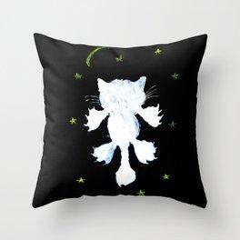 White stylized cat silhouette Throw Pillow