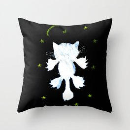 White stylized cat silhouette Throw Pillow