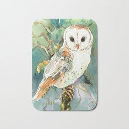 Barn Owl, woodland design owl Bath Mat