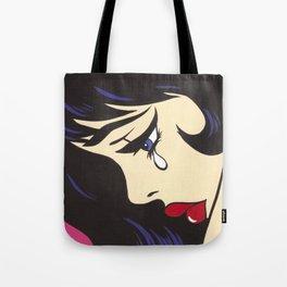 Black Bangs Crying Comic Girl Tote Bag