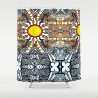 sun and moon Shower Curtains featuring Sun Moon & Stars by Marcela Caraballo