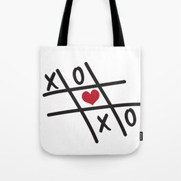 Tic Tac Toe XOXO and Red Heart Tote Bag