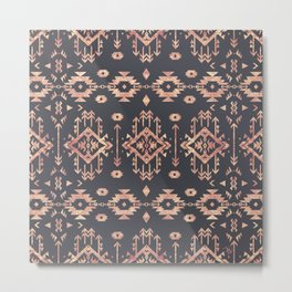 Trendy tribal geometric rose gold pattern Metal Print