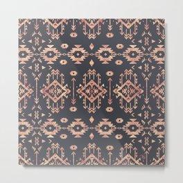 Trendy tribal geometric rose gold pattern Metal Print