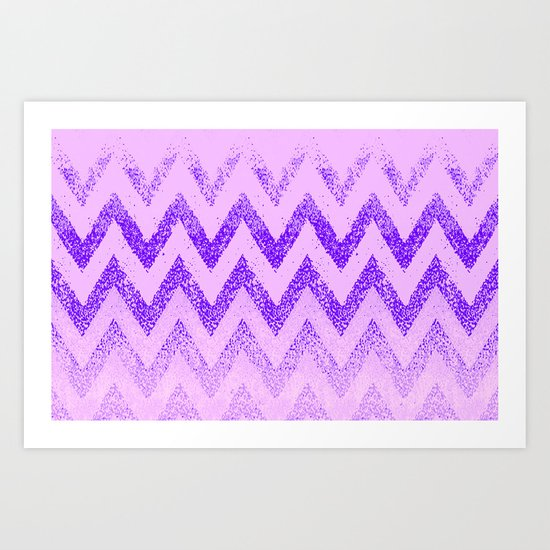 disappearing purple chevron Art Print