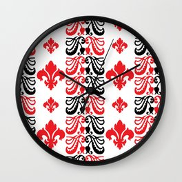 Fluer de Lis Custom Red Wall Clock