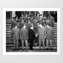 African American Navigation Cadets with Mayor La Guardia Art Print