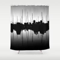 marina Shower Curtains featuring Marina Pulse by RichCaspian