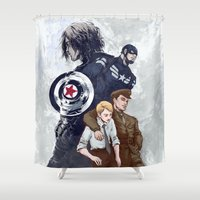 bucky Shower Curtains featuring Until the end of the line by Irene Flores