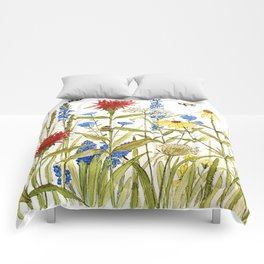 Garden Flower Bees Contemporary Illustration Painting Comforters