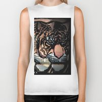 tigers Biker Tanks featuring TWIN TIGERS by T.H.M.
