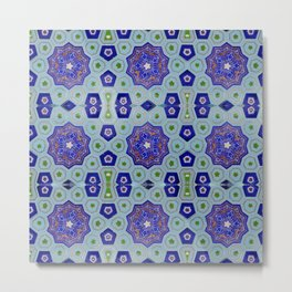 Samarkand Kaleidoscope in Blue Metal Print