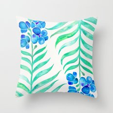 Blooming Orchid – Mint & Blue Palette Throw Pillow