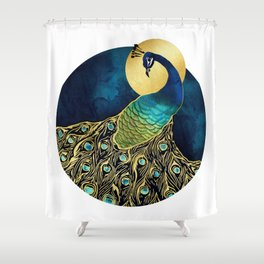 Golden Peacock Shower Curtain