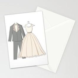 clothes of wedding couple Stationery Cards