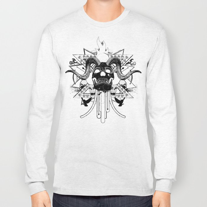 Rock Horned Skull Graphic  Long Sleeve T-shirt