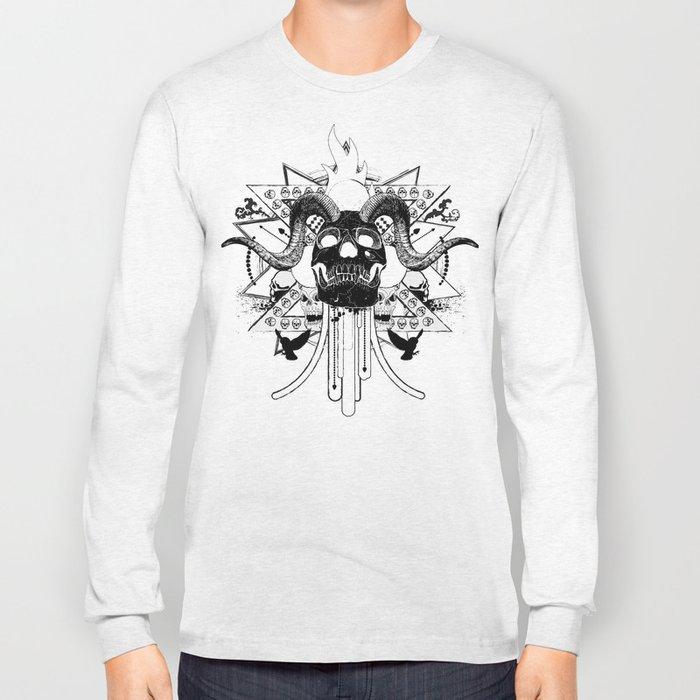Rock Horned Skull Graphic  Long Sleeve T-shirt