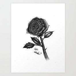 Realistic Rose Done in Pencil Art Print