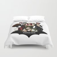 selena Duvet Covers featuring the Gotham Sirens by Esteban Barrientos