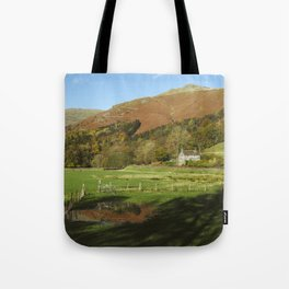 Cottage and flooded field. Grasmere, Lake District, UK. Tote Bag