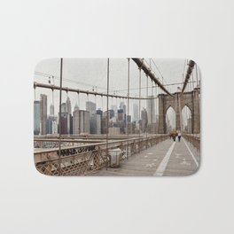 View on downtown from the Brooklyn Bridge in New York City, USA | Travel photography print | New York people walking | Tipical NY building architecture photo Art Print Art Print Bath Mat