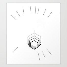 White Platinum Rooster - Reverse   Art Print