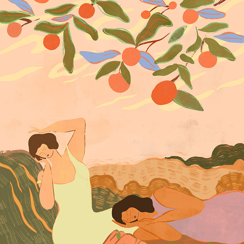 painting of two women lounging under an orange tree