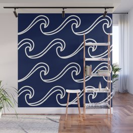 Rough Sea Pattern - white on navy blue Wall Mural
