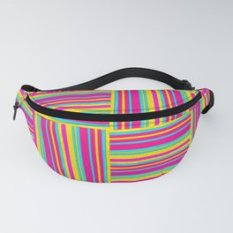 Neon Multicolored Weaved Squares Fanny Pack