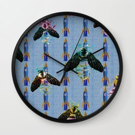Iridescent Bees with Space Rockets Pattern Wall Clock