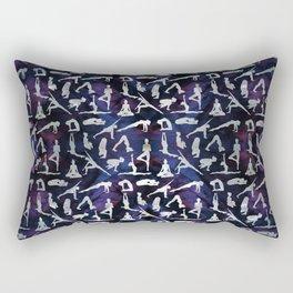 Yoga Asanas / Poses  pattern on Amethyst Rectangular Pillow