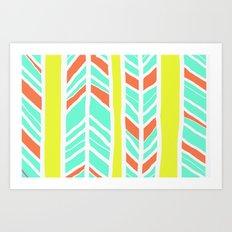 Stripes: Burnt Umber & Friends Art Print