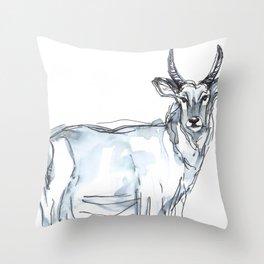Gazelle, watercolor Throw Pillow
