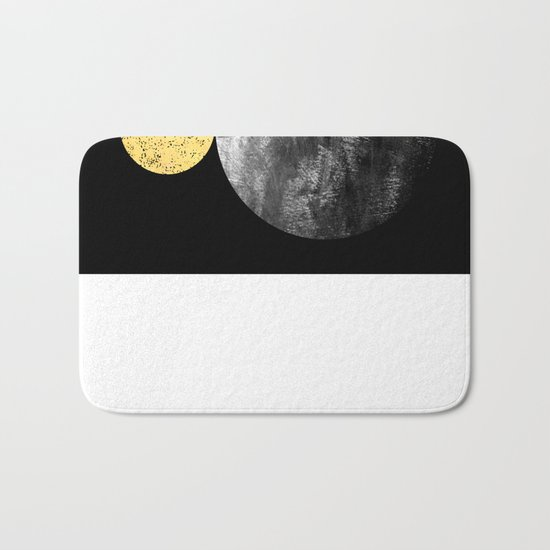 Orson - minimal black and gold modern marble abstract painting dark skywatching galaxy planets space Bath Mat