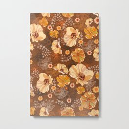 70s Flowers retro vintage boho orange and brown Metal Print