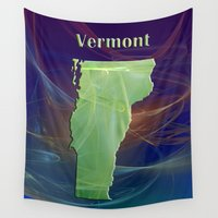 vermont Wall Tapestries featuring Vermont Map by Roger Wedegis