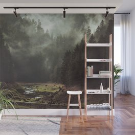 Foggy Forest Creek Wall Mural