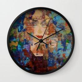 Mona Lima: Abstract Acrylic Painting of a woman Wall Clock