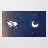 bunny Area & Throw Rugs featuring Moon Bunny by Freeminds